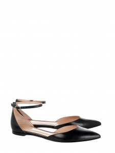 GIANVITO ROSSI Black matte leather GIA point-toe ballet flats Retail price €420 Size 38.5