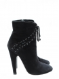 High heels black suede leather ankle boots Retail price 1050€ Size 38