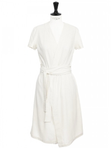 Mid-length ecru white linen wrapped dress Retail price €180 Size XS/S