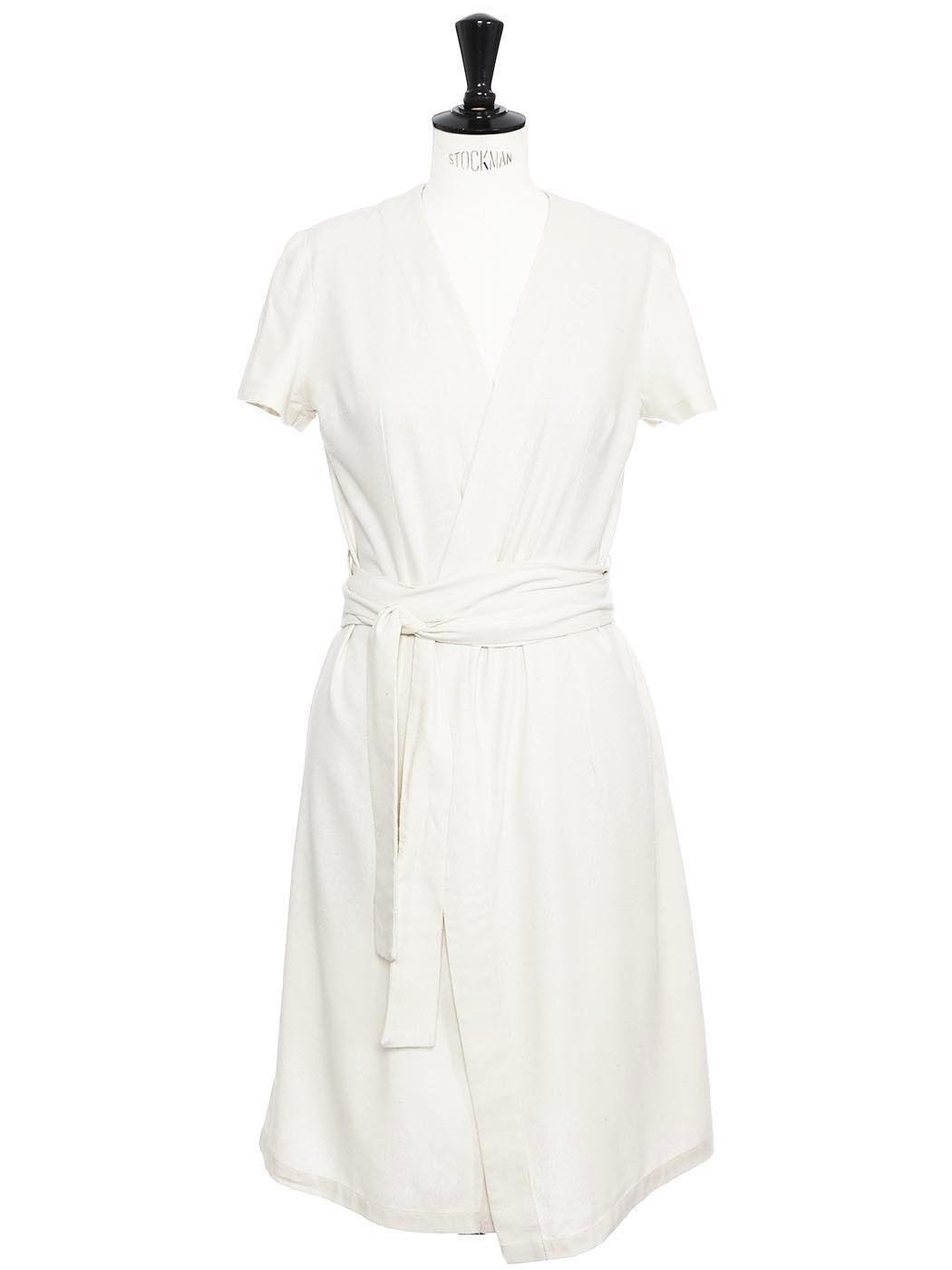 1e99c1db8dbe2f Louise Paris - VATHOS APPAREL Robe portefeuille mi-longue en lin ...