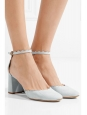 CHLOE LAUREN Light blue grey leather scallop-edged d'Orsay pumps Retail price $695 Size 37