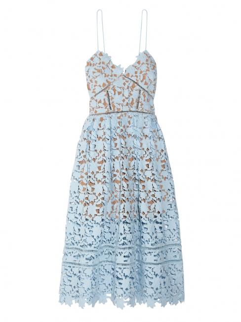 3c454262f3ac Azaelea Light blue cinched décolleté mid-length lace dress Retail price ...