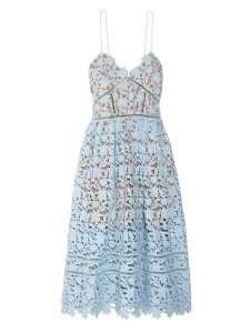 Azaelea Light blue cinched décolleté mid-length lace dress Retail price €440 Size XS