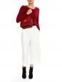 White cropped crepe wide-leg pants Size S