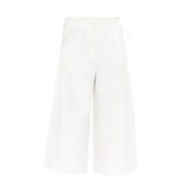 Pantalon taille haute évasé cropped en crêpe blanc Taille 36