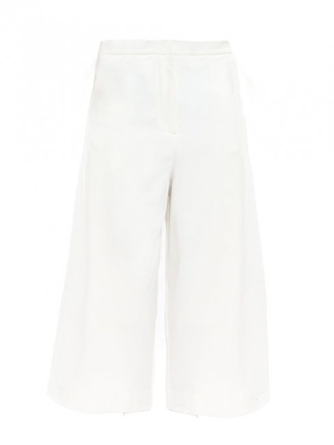 Ivory white crepe cropped high waist wide-leg pants Size S