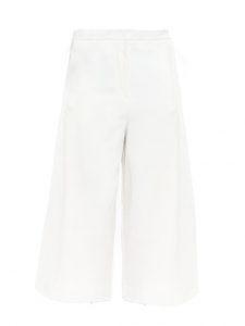 White cropped crepe wide-leg pants Size S
