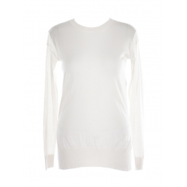Cream white virgin wool and silk crew neck sweater Retail price $695 Size 36