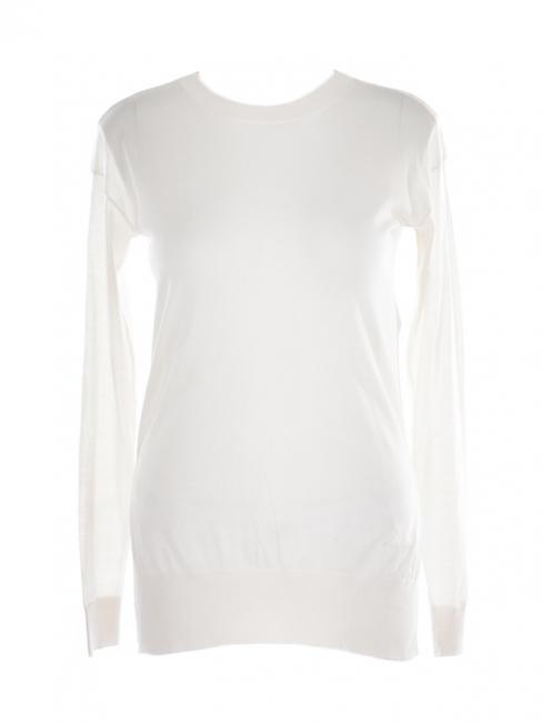 Pull col rond en laine vierge et soie blanc crème Prix boutique $635 Taille 36