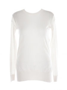 Cream white virgin wool and silk turtleneck sweater Retail price €700 Size 36