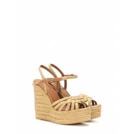 CANDY Beige espadrilles wedge sandals with ankle strap Retail price $895 Size 40