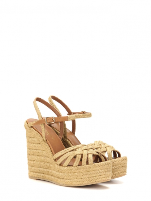 8a87dbf17d5e CANDY Beige espadrilles wedge sandals with ankle strap Retail price  895  Size 40