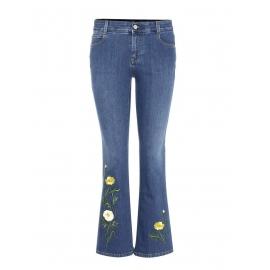 Jean flare cropped taille haute bleu brodé fleurs jaune et vert Prix boutique 510€ Taille M (28)