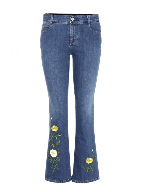 Flower embroidered frayed hem cropped flared blue jeans Retail price €510 Size M (28)