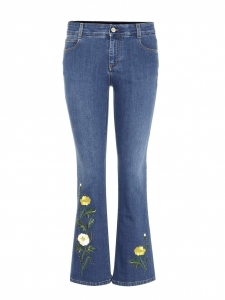 STELLA MCCARTNEY Flower embroidered frayed hem cropped flared blue jeans Retail price €510 Size M (28)