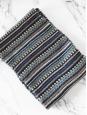 KENZO Echarpe longue en cachemire et mohair graphique vert, bleu blanc violet et noir Prix boutique 190€