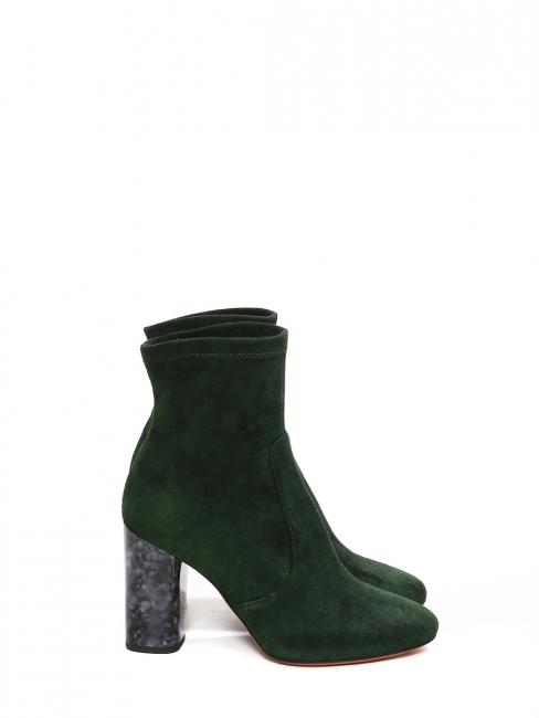 Bottines en suede vert foncé à talon effet marbre gris noir Prix boutique 430€ Taille 36