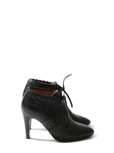 CHLOE Bottines à talon PIPER low boots en cuir noir Px boutique 640€ Taille 38,5