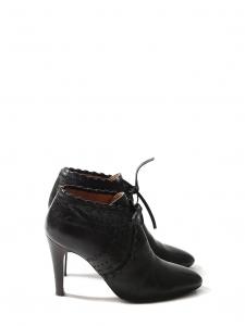 CHLOE Bottines à talon PIPER low boots en cuir noir Px boutique 640€ Taille 38,5