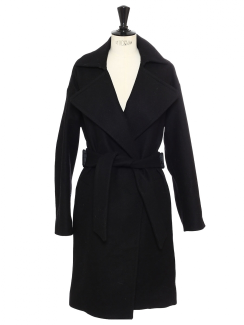 Black wool belted long coat Retail price €430 Size XS to S