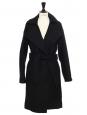 Manteau long ceinturé en drap de laine noir Prix boutique 430€ Taille 34 à 36