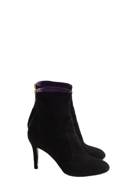 Black suede ankle boots with back gold zip Retail price €650 Size 38.5