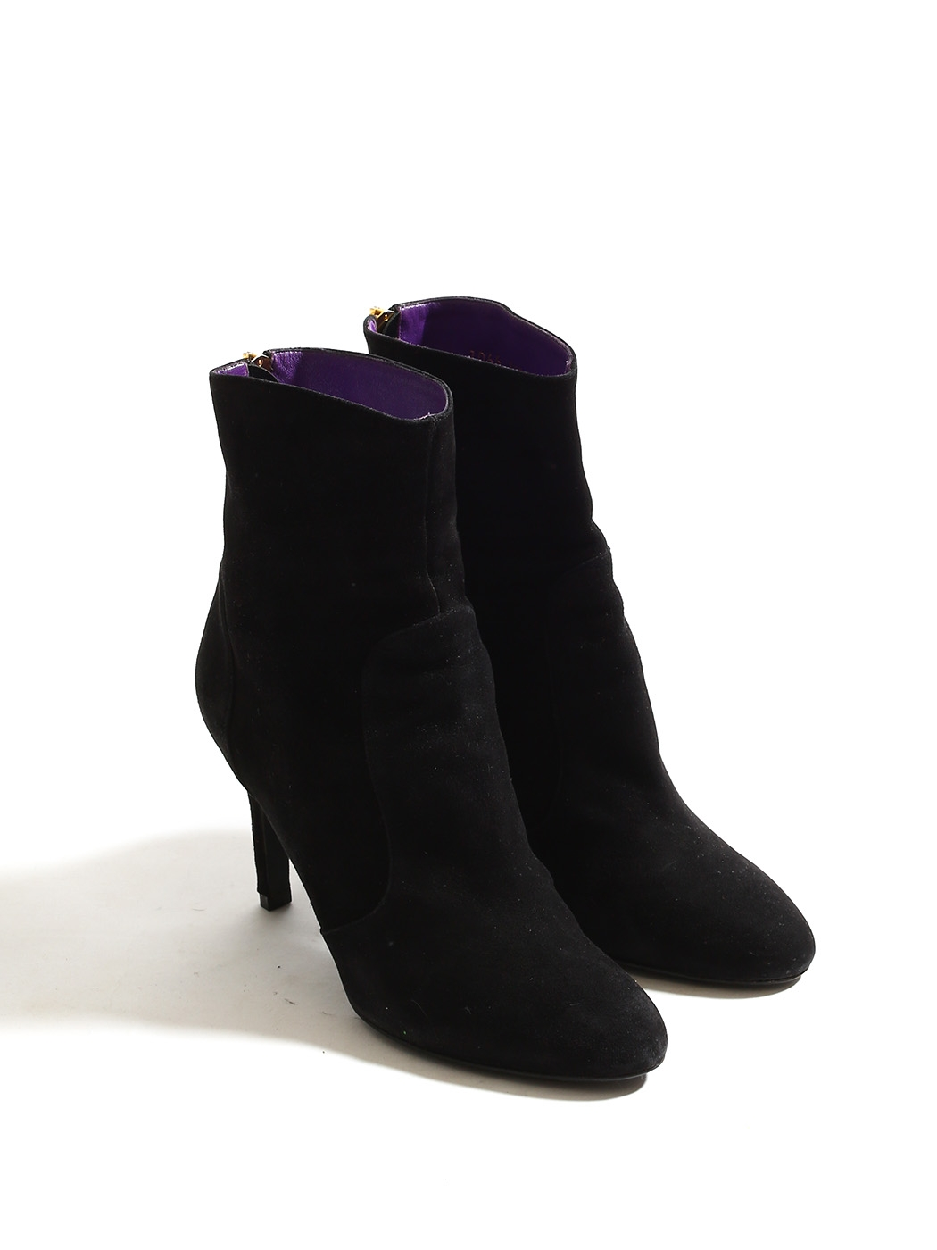 f9466727de0da ... SERGIO ROSSI Black suede ankle boots with back gold zip Retail price € 650 Size 38.5 ...