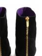SERGIO ROSSI Bottines en suede noir talon zip doré Px boutique 650€ Taille 38,5