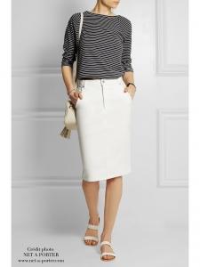 Jupe droite BRIGHTON en jean blanc Px boutique 133€ Taille 36