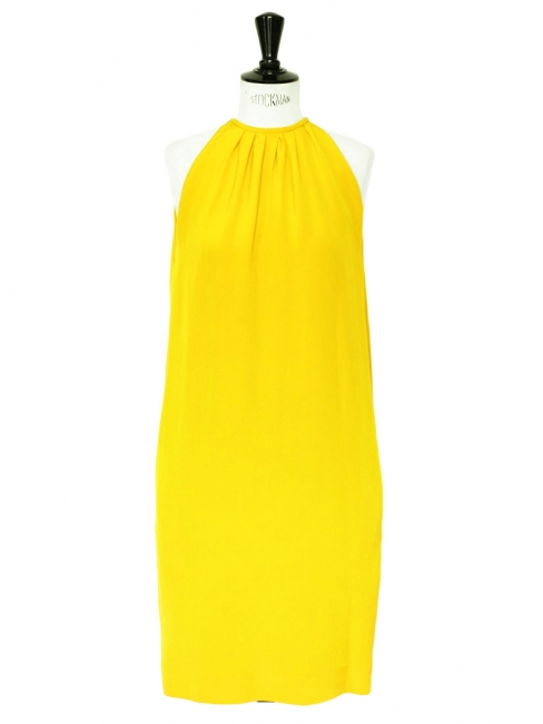 Bright yellow silk sleeveless cocktail dress Retail price €2000 Size 40