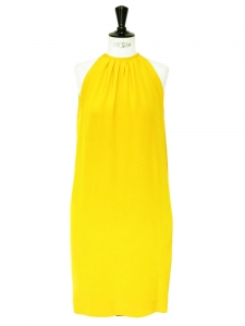 Bright yellow silk sleeveless cocktail dress Retail price €2000 Size 36