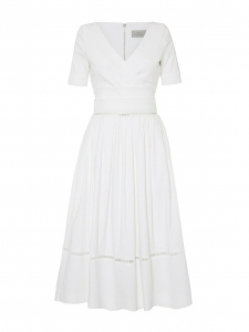 Robe ADE ROBIN décolletée V cintrée évasée dos ouvert en crêpe blanc Px boutique 1150€ Taille 34
