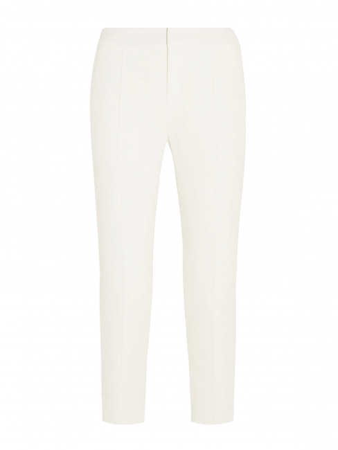 Ivory white crepe de chine slim fit tailored pants Retail price €480 Size 40