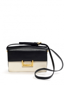 SAINT LAURENT LULU Medium black and white leather shoulder bag Retail price  €1500 d6ae8c393a7f0