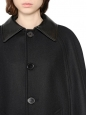 SAINT LAURENT Black wool felt and leather cape Retail price $2750