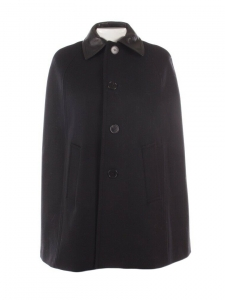 SAINT LAURENT Black wool felt and leather cape Retail price $2750