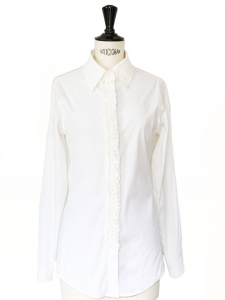 White cotton jersey fitted shirt with sewn pleats Retail price €550 Size 36