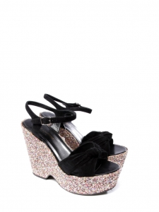 6073650fb7ea SAINT LAURENT CANDY Glitter and black suede leather platform wedge sandals  Size 38