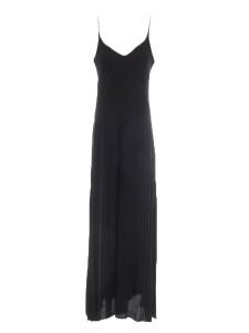 Robe longue dos nu à fines bretelles en crêpe noir Taille 34