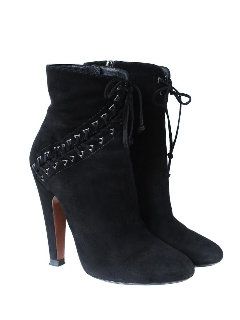 louise azzedine alaia high heels black suede