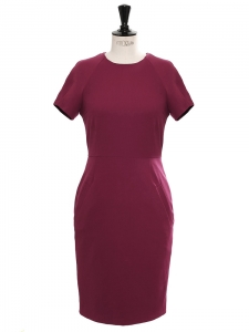 LUCILLE Berry burgundy stretch cotton fitted dress Retail price €290 Size 36