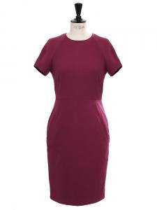 Robe cintrée LUCILLE en coton bordeaux prune Px boutique 290€ Taille 36