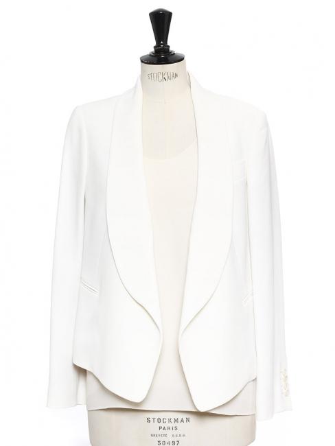 Ivory white crepe blazer jacket Retail price €1700 Size 38