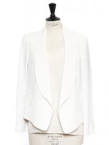 Ivory white crepe blazer jacket Retail price €1000 Size S
