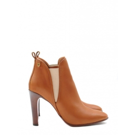 PIPER Tan leather heeled ankle boots NEW Retail price €640 Size 38.5