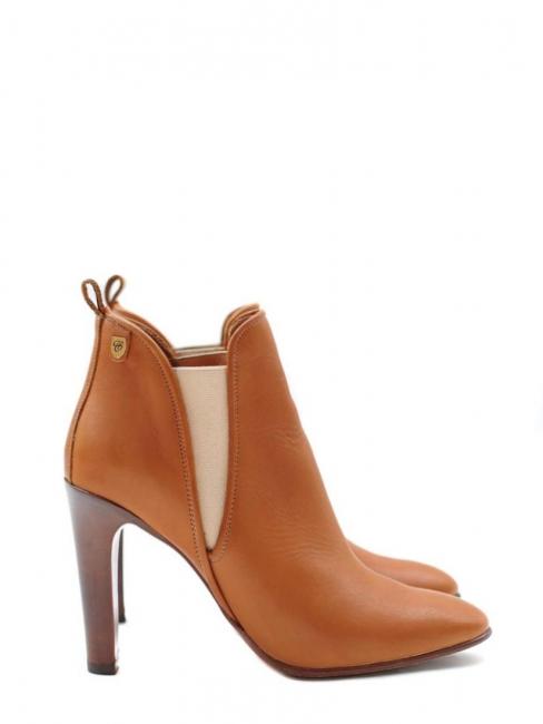 Bottines à talon PIPER en cuir camel NEUVES Prix boutique 640€ Taille 38.5