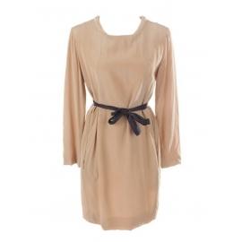 Long sleeves tan camel brown silk dress with black belt Retail price €950 Size 38