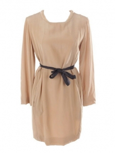 Long sleeves tan camel brown silk dress Retail price €950 Size 38