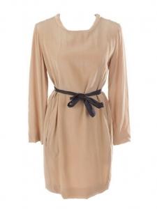 Robe manches longues en soie beige camel Prix boutique 950€ Taille 38