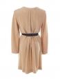 Long sleeves tan camel brown silk dress Retail price €950 Size 38
